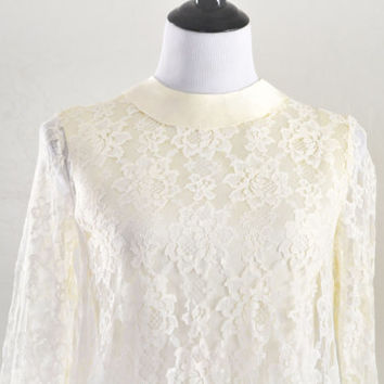 1960s Mod Lace Wedding Dress Shift Style with Bell Sleeves
