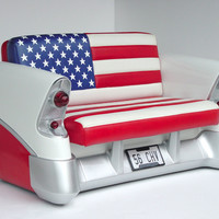 56 Chevy Sofa American Flag - 56 Chevrolet Car Sofa