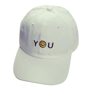 DCCKU62 High Quality Letter Embroidery Cotton Smile Baseball Cap Unisex Snapback Hip Hop Sun Hat  MAY 30