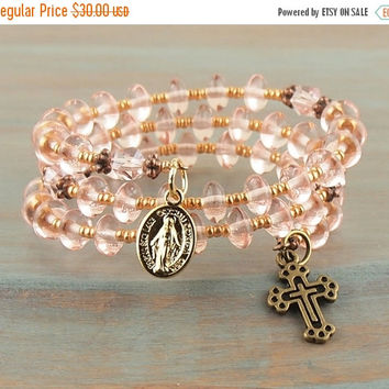 On Sale Pink Crystal Wrap Cuff Rosary Bracelet Bronze Cross Gold Miraculous Medal Prayer Beads Fits Girls First Holy Communion Gift Flower G