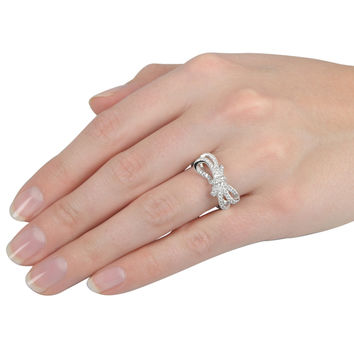 Journee Collection Sterling Silver Cubic Zirconia Double Bow Ring   Overstock.com Shopping - The Best Deals on Cubic Zirconia Rings