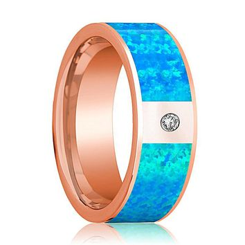 Mens Wedding Band 14K Rose Gold with Blue Opal Inlay and Diamond Flat Polished Design