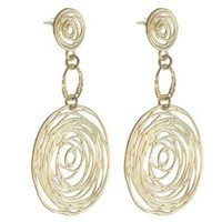 High Fashion Italian Sterling Silver with Yellow Gold Overlay Round Circle Drop Earrings!