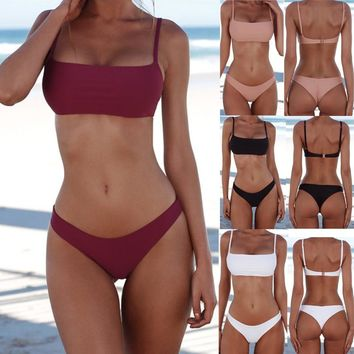 Strap Solid Color Pink Beach Bikini Set Swimsuit Swimwear