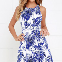 Palm Reading Ivory and Blue Print Dress