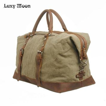 High grade men Travel Bag Large Capacity Luggage & Travel Duffle Wild Style Real Leather Vintage Style  canvas totes bags   FN13