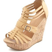 Belted Strappy Huarache Wedge Sandals by Charlotte Russe - Tan