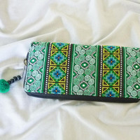 Orange wallet green native graphic flower wallet with zip pom pom /Embroidered Wallet /Hmong wallet/ Tribal purse