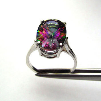 CLEARANCE  Rainbow Quartz Concave Cut Oval in Sterling Silver Ring