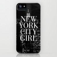 New York City Girl Black & White iPhone Case iPhone & iPod Case by RexLambo