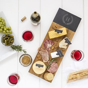 Personalized Acacia & Slate Charcuterie Serving Board with Slate Markers | Overstock.com Shopping - The Best Deals on Serving Platters/Trays