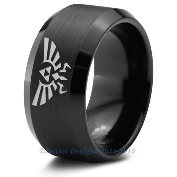 Zelda Black Beveled Tungsten Ring