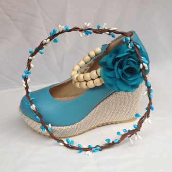 Sweet beach wedding shoes turquoise lake blue wedge flower heels w/ garland wreath for bridal bridalmaids guest outfit party