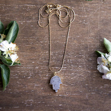 HAMSA DRUZY PENDANT - Long Gold Chain, Natural Raw Druzy Stone, Raw Gemstone, Druzie, Drusy, Boho Chic, Long Pendant, Layering Necklace