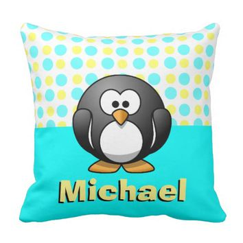 Cute Penguin on yellow/blue Polka Dots, Add Name Pillows