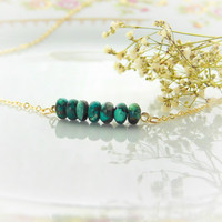 Natural Turquoise Bar Necklace, Turquoise, December, Birthstone, Dainty Necklace, Simple, 14k Gold Fill, Gold Necklace, Blue Stone