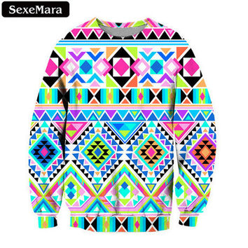 SexeMara Fashion Colourful Plaid Printed Sweatshirt Beautiful Casual Loose Kpop Cute Pullover Harajuku Kawaii Vintage Tops F1377