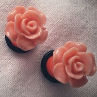 6g 4mm Orange Rose Plugs Flower Acrylic gauge by Glamsquared
