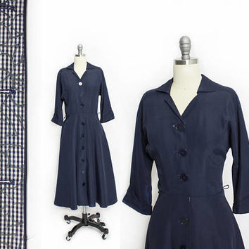 Vintage 1950s Dress - Navy Blue Taffeta Button Shirt Front Full Skirt - Small