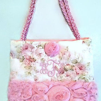 Embroidered Tea Rose Baby Tote Bag
