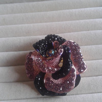 Closing sale - Pink and black rose crystal  brooch pin