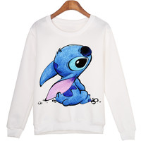Sweatshirts Smurfs Cartoon Print Women Sweatshirt Jumper Casual Hoodies For Lady White Long Sleeve Sportswear Hoody