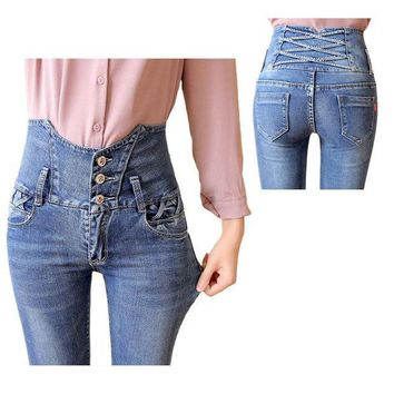 CREYCI7 2016  Vintage Jeans Woman high waist Blue Skinny Jeans Plus Size Women Pants Jeans Femme Ripped with diamond Jeans