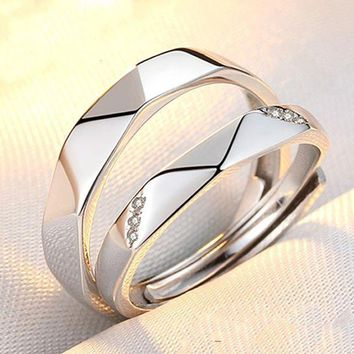 DCCKON3 engagement none trendy lovers reallover s925 couple rings and japanese korean students simple personality