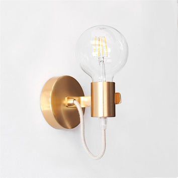 Wall Sconce Light Gold Minimalist Wall Light Industrial Lamp Wall Lighting Gold Modern Light Sconce Lamp Edison Sconce Minimal Home Decor