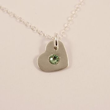 Birthstone Heart Charm - Sterling Silver Charm / Necklace