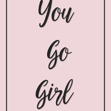 Pink wall art, girls room decor, kids print, tween wall decor, calligraphy printable, teen bedroom ideas, motivational art, instant download