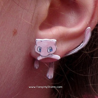 Mew Pokemon Clinging earrings Handmade kawaii gamer two part front and back post earrings