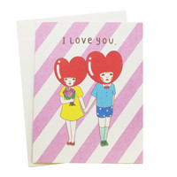 I Love You Heart Heads Card