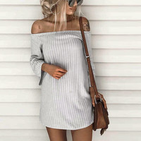 2017 New Summer Striped Dresses Women T-Shirt Dress Slash Neck Off-shoulder Bodycon Dress Vestidos Listrado Curto Cheap Femme