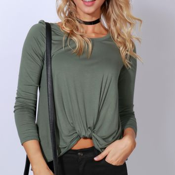 Knotty or Nice Long Sleeve Knot Tee Olive