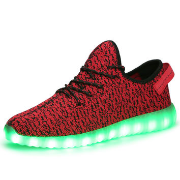 2017 Men Women CASUAL SHOES Canvas LED Light Up Colour Changing Unisex Valentine Shoe tenis masculino esportivo original boostrs