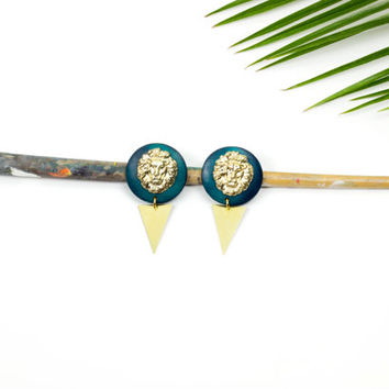 Lion head wood earrings by See Rue. Brass triangle. Gold lion head. Handmade turquoise wood button earrings. lead and nickel free