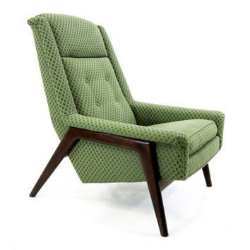 20% Off Sale - Danish Modern Lounge Chair, Green on Walnut