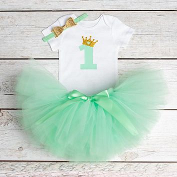 Baby Girl Clothes 2017 Summer Girls Clothing Sets 1st Birthday Party Number Print Romper+Dress 3Pcs Girls Clothes 1 Year Bebes