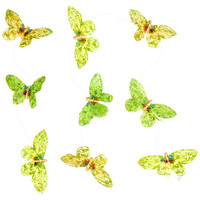 Green and Yellow Butterfly Glitter Garland