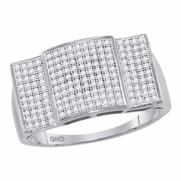 10kt White Gold Men's Round Pave-set Diamond Rectangle Dome Cluster Ring 1/2 Cttw - FREE Shipping (US/CAN)