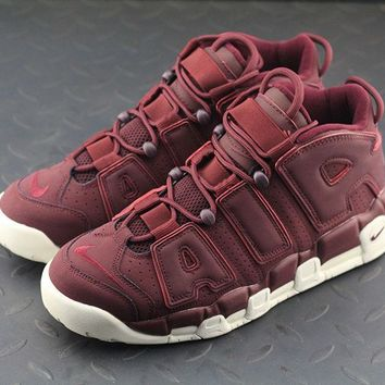 PEAPON Nike Air More Uptempo Night Maroon For Women Men Running Sport Sneakers Wine Red