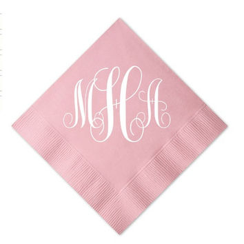 Cocktail Napkins with Large Monogram - Set of 150