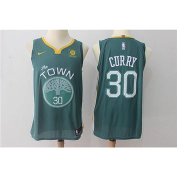 NBA Authentic Basketball Player Jerseys Golden State Warriors # 30 Stephen Curry Green
