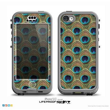 The Multiple Peacock Feather Pattern Skin for the iPhone 5c nüüd LifeProof Case