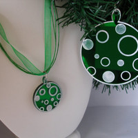 Christmas  ornament with matching small ornament  necklace boxed set green mirrored acrylic with  white circles and dots