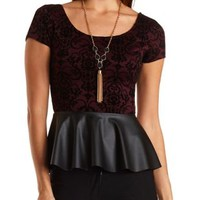 Flocked & Faux Leather Peplum Top by Charlotte Russe