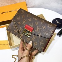 LV Louis Vuitton Fashionable Women Shopping Bag Leather Metal Chain Shoulder Bag Crossbody Satchel