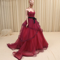 strapless sweetheart black sash long ball gowns burgundy prom dress 2016 robe longue new style