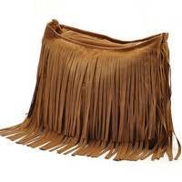 Camel Tassels Zipper Bag